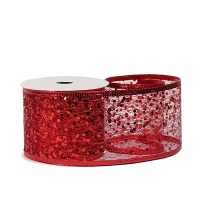 Glitter mesh ribbon 63cm x 10 yards RED