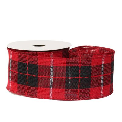 Check Ribbon black / red 63mm x 10 yards wire edge