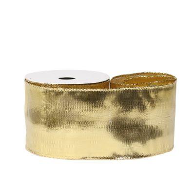 Metallic Ribbon 63mm x 10 yards wire edge Gold