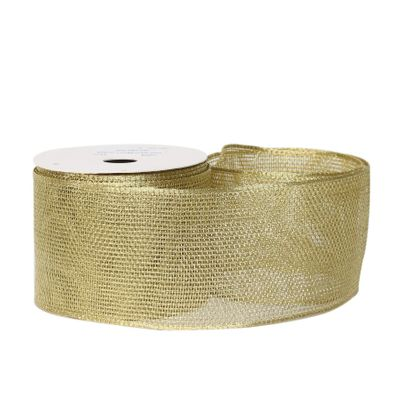 Mesh ribbon 63mm x 10 yards wire edge Gold
