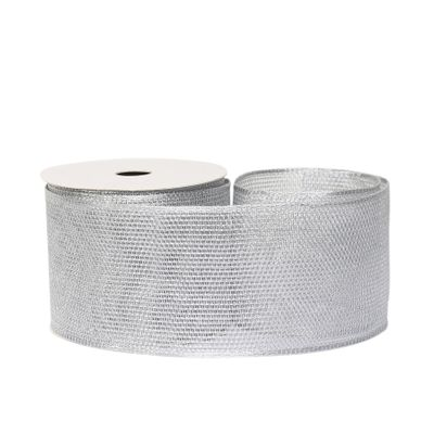 Mesh ribbon 63mm x 10 yards wire edge Silver