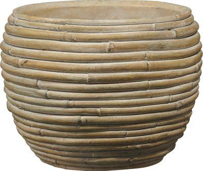 Myanmar Ceramic Bowl Pot Bamboo Brown (W19 x H15cm)