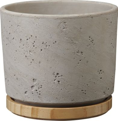 Paros Deluxe Ceramic Pot Light Grey / Wood (W23 x H20cm)
