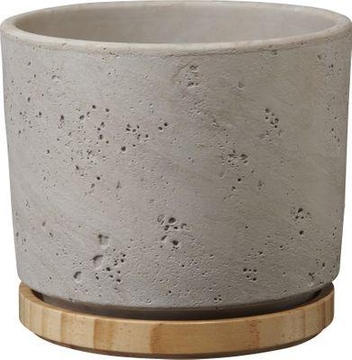 Paros Deluxe Ceramic Pot Light Grey / Wood (W16 x H14cm)