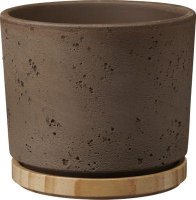 Paros Deluxe Ceramic Pot Sand Grey / Wood (W14 x H13cm)