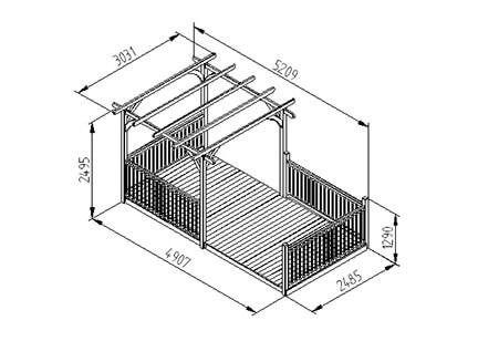 Forest Garden Ultima Pergola Extended Deck Kit