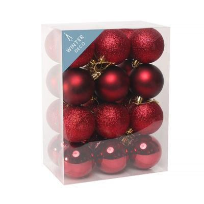 Burgundy Shatterproof Baubles (6cm) (24 pieces)