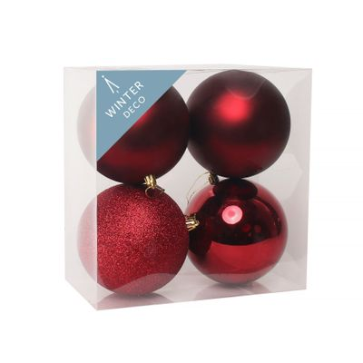 Burgundy Shatterproof Baubles (12cm) (4 pieces)