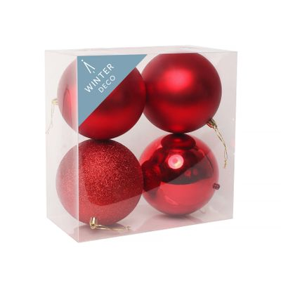 Red Shatterproof Baubles (12cm) (4 pieces)