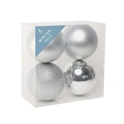 Silver Shatterproof Baubles (12cm) (4 pieces)