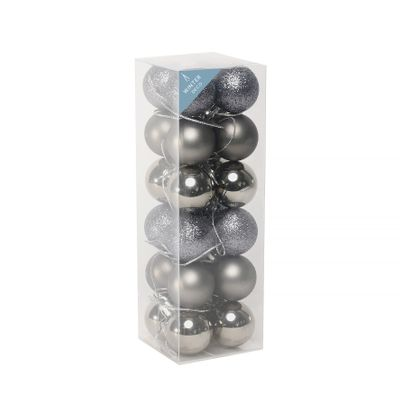Pewter Shatterproof Baubles (3cm) (24 pieces)
