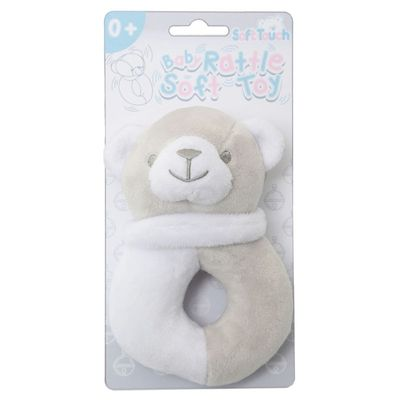 Soft Touch - Grey / White Bear Rattle Toy