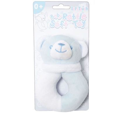 Soft Touch - Blue / White Bear Rattle Toy