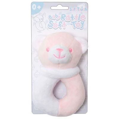 Soft Touch - Pink / White Bear Rattle Toy