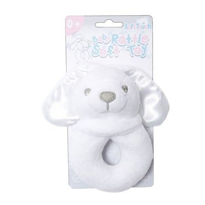Soft Touch - White Bunny Rattle Toy