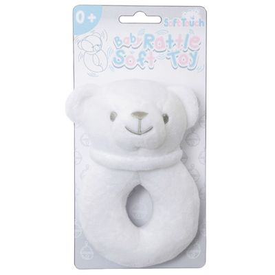 Soft Touch - White Bear Rattle Toy