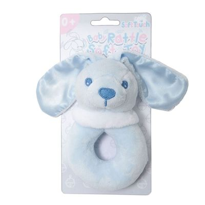 Soft Touch - Blue Bunny Rattle Toy