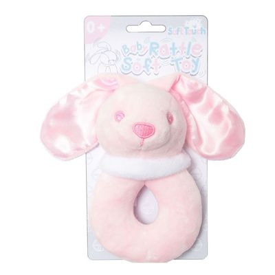 Soft Touch - Pink Bunny Rattle Toy
