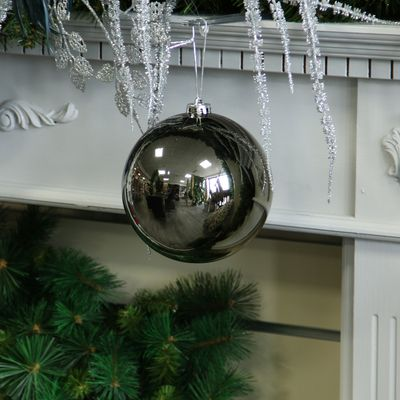 Pewter Shiny Shatterproof Bauble (x1) (15cm)