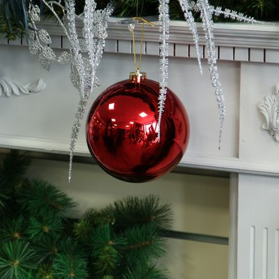 Red Shiny Shatterproof Bauble (x1) (15cm)