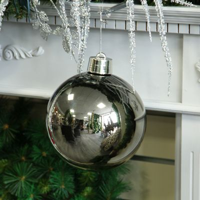 Pewter Shiny Shatterproof Bauble (x1) (20cm)