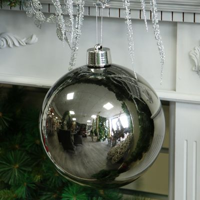 Pewter Shiny Shatterproof Bauble (x1) (25cm)