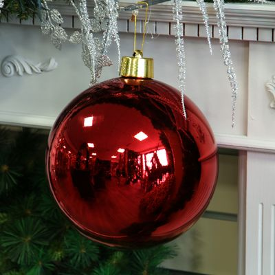 Red Shiny Shatterproof Bauble (x1) (25cm)