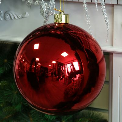 Red Shiny Shatterproof Bauble (x1) (30cm)
