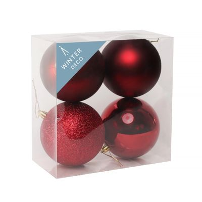 Burgundy Shatterproof Baubles (10cm) (4 pieces)