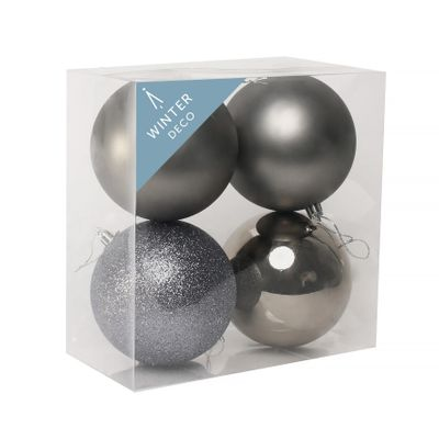 Pewter Shatterproof Baubles (10cm) (4 pieces)