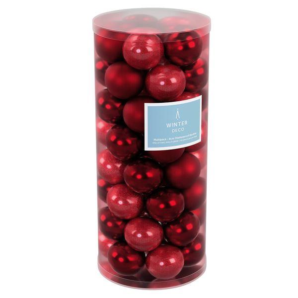 Burgundy 8cm Plastic Ball in tube (matt,shiny,glitter) x 40