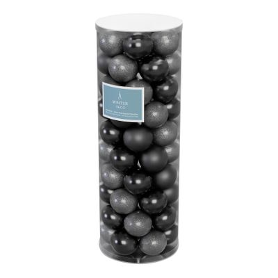 Pewter 10cm Plastic Ball in tube (matt,shiny,glitter) x 50