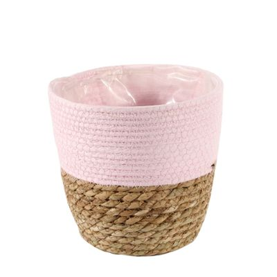 19cm Round Two Tone Seagrass and Pink Paper Basket