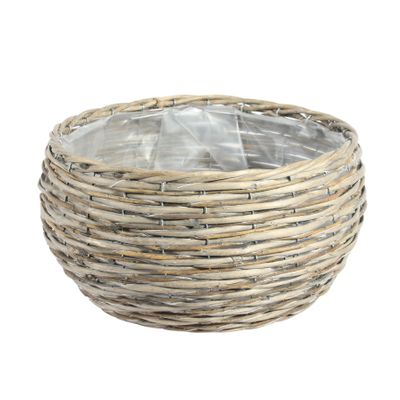 33CM Round Two Tone Unpeeled & Split Willow Basket