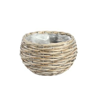 20CM Round Two Tone Unpeeled & Split Willow Basket