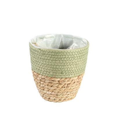 16cm Round Two Tone Seagrass and Green Paper Basket