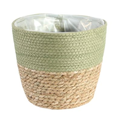 23cm Round Two Tone Seagrass and Green Paper Basket