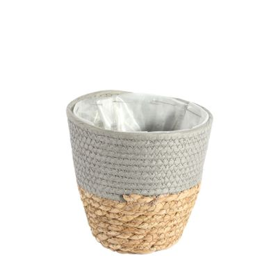 16cm Round Two Tone Seagrass and Grey Paper Basket