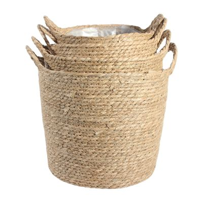 Set of 4 Natural Grass Baskets with Handles