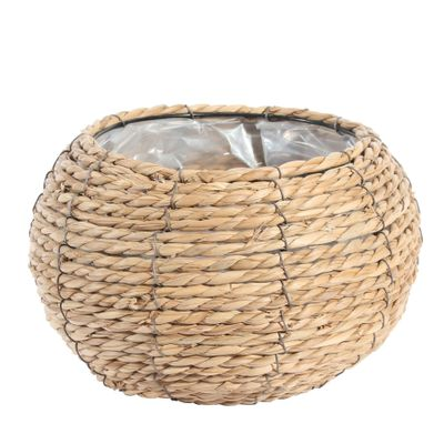 Medium Round Grass Basket with Internal Metal Frame 22cm