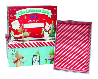 Nested Christmas Boxes - Santa & Friends (x3)