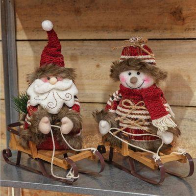 SANTA & SNOWMAN ON SLEDGE DECORATION