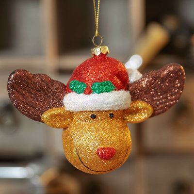GLITTER RUDOLPH THE REINDEER HANGING DECORATION