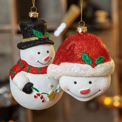 GLITTER SNOWMAN HANGING DECORATIONS