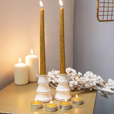 SET OF 6 GOLD GLITTER TEALIGHT & DINNER CANDLES