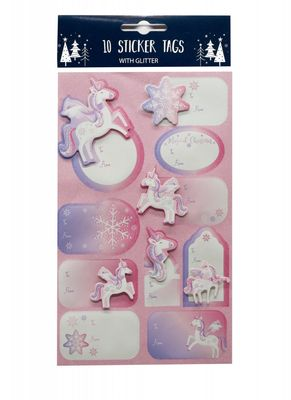 Glitter Tag Labels - Unicorn