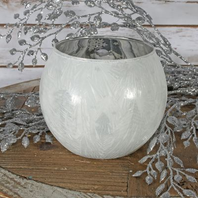 White Frosted Bubble Ball Votive Candle Holder (L)