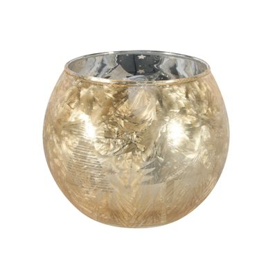 Gold Frosted Bubble Ball Votive Candle Holder (L)