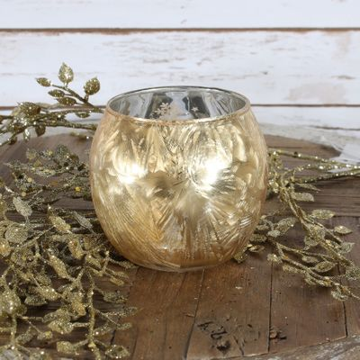 Gold Frosted Bubble Ball Votive Candle Holder (S)