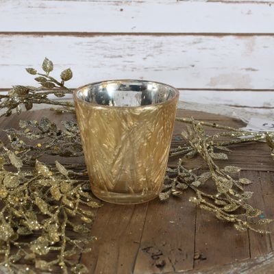 Gold Frosted Votive Candle Holder (S)